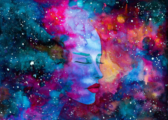 acquerello  bello donna spazio nebulosa