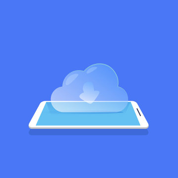Cloud synchronization icon mobile data storage application