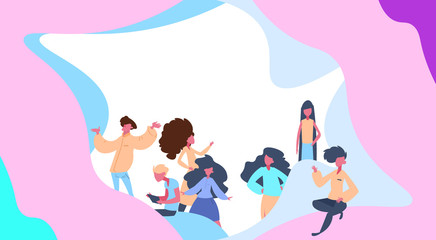 people group relaxing over colorful creative background flat full length horizontal vector illustration