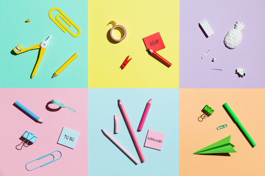 Back to school. Creative Flat lay desk and stationery.