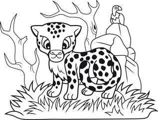 cartoon cute little cheetah, funny illustration, coloring book
