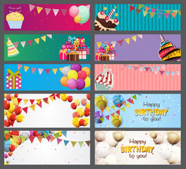 Party Background Baner with Flags and Cakes Collection Set Vector Illustration