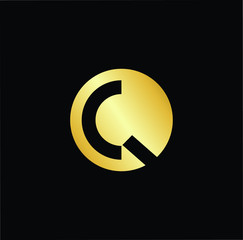 Abstract letter CQ QC. minimal logo design template. Vector letter logo with gold and black color.
