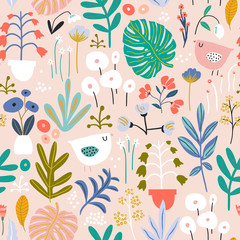 Seamless pattern with flowers in pots, palm branch, leaves and birds. Creative floral texture. Great for fabric, textile Vector Illustration