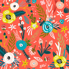 Seamless pattern with flowers,palm branch, leaves. Creative floral texture. Great for fabric, textile Vector Illustration