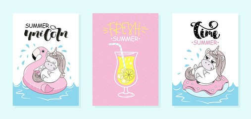 Set of summer holiday cards with unicorn. Vector illustration.