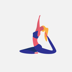 woman doing yoga exercises cartoon character sportswoman activities isolated healthy lifestyle concept full length flat vector illustration