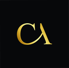 Abstract letter CA AC. minimal logo design template. Vector letter logo with gold and black color.
