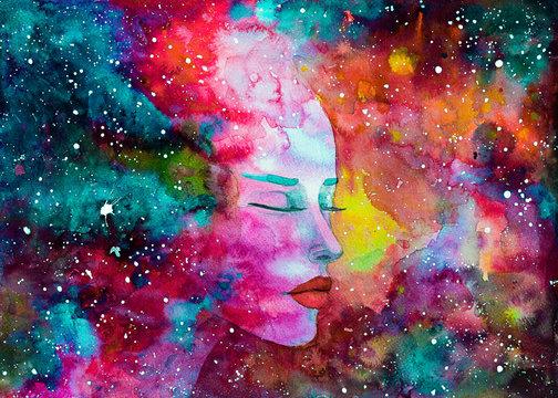 acquerello donna bella spirito spazio