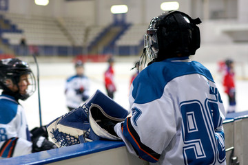 hockey player on the court