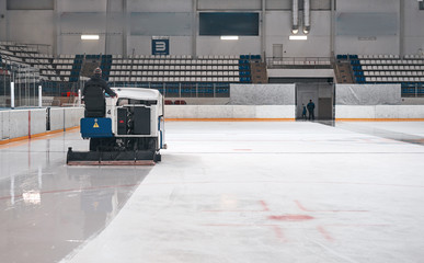 machine prepares ice for the game