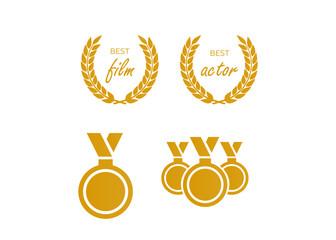 Circular vector winner emblems. Vector medal and award icons set
