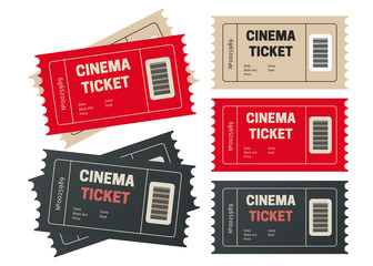 Ticket template for your event. Retro cinema or movie tickets.