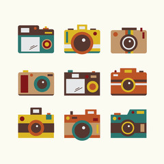 Flat vintage cute camera icon design