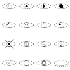 Eye line icon. Human organ of sight in different positions, visual system in graphic design. Vector line art eye illustration.