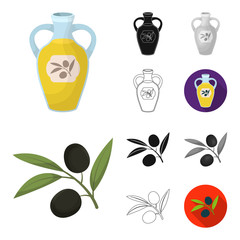 Spain country cartoon,black,flat,monochrome,outline icons in set collection for design.Travel and attractions vector symbol stock web illustration.