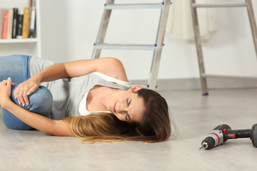 Domestic accident of a woman falling down at home