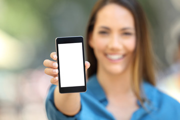Girl hand showing a phone screen mock up
