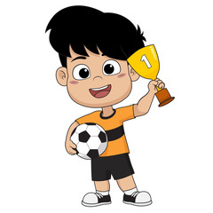 kid won the football match.Vector and illustration.