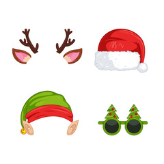 New Year's masks for photos. Christmas clipart Santa Claus and Elf  and deer