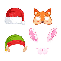 New Year's masks for photos. Christmas clipart Santa Claus and Elf and rabbit and  and fox