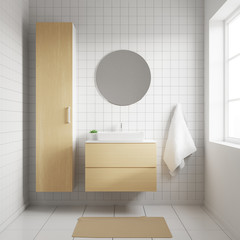 Bathroom interior with white walls and sink standing on a wooden shelf. Round mirror hanging on a wall. 3d rendering