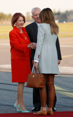 First lady Melania Trump is greeted by Ambassador Robert Frank Pence, Ambassador of the United States of America to the Republic of Finland and his wife Mrs. Suzy Pence, at Helsinki-Vantaa airport in Vantaa