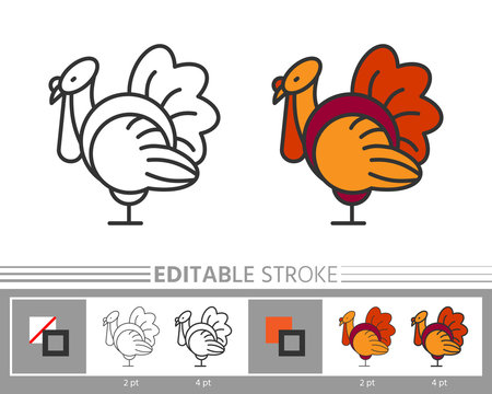 Thanksgiving day turkey line icon editable stroke