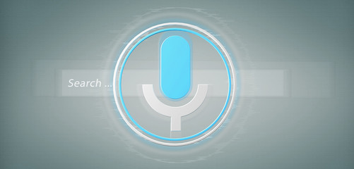 Vocal search system with button and icon3d rendering - fototapety na wymiar