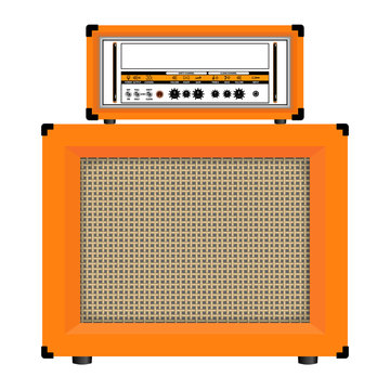 Realistic classic guitar amplifier with cabinet speaker, vector illustration