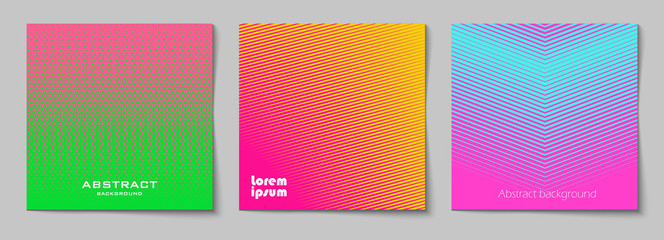 Set of square abstract backgrounds with halftone pattern in neon colors. Collection of gradient textures with geometric ornament. Design template of flyer, banner, cover, poster. Vector