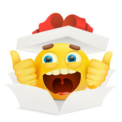 White paper opened box with yellow emoticon smiley character