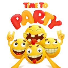 Time to party card with group of yellow emoji cartoon characters.