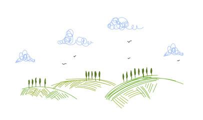 campagna, sfondo, agricoltura, stilizzato,