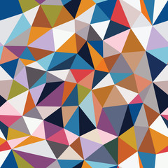 Abstract seamless pattern of triangles. Mosaic from the fragments of geometric shapes.