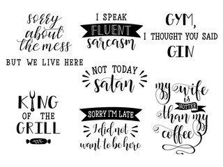 set of 7 funny and sarcastic hand lettering. Modern calligraphy.