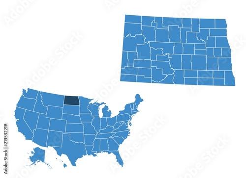 Map of North Dakota state\