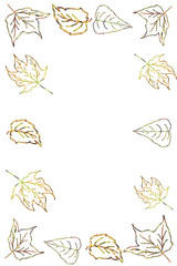 Hand Painted Fall Leaves in Frame Shape