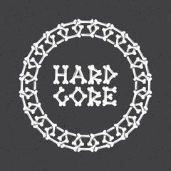 bone chain frame, hard core  bones text