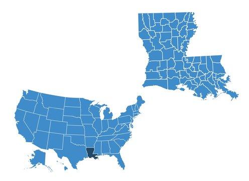 Map of Louisiana state
