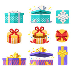 Open, close and top view gift boxes. Vector flat icons set. Present and surprise holiday illustration