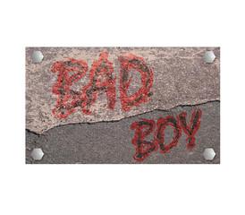 Schild aus Stein mit text böser Junge. 3d render