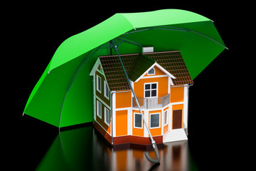 House security and protection concept. Home under umbrella, 3D rendering