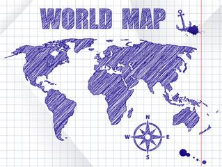 Blue ink sketched navigation world map on school notebook sheet background
