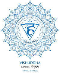 Fifth chakra illustration vector of Vishudda