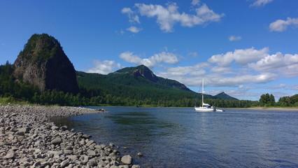 Sailboat on Columbia River at Beacon Rock