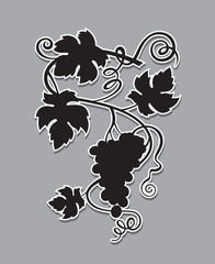 black illustration of grapes silhouette with bunches and leaves