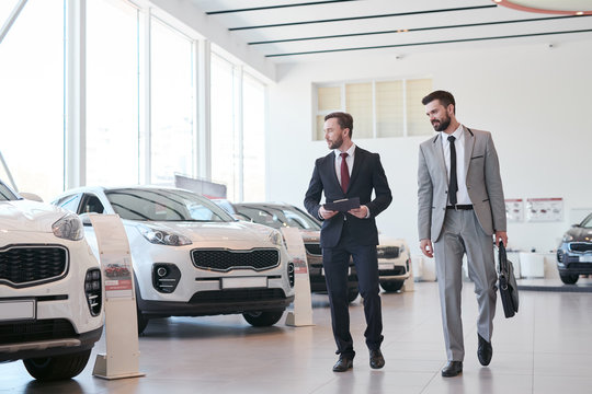 Young businessman choosing a new car together with auto dealer in auto showroom
