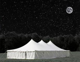 white evens tent under the stars (some elements courtesy of nasa)