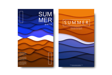Vector set of realistic isolated brochure with paper cut layer design beach cover for summer party for decoration and covering on the white background.